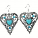 Bohemian Ethnic Tribal Tibetan Silver Rhinestone Turquoise Stone Heart Pendant Drop Earrings