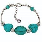 Aztec Ethnic Tribal Tibetan Silver Bohemian Turquoise Beaded Oval Hearts Stone Bracelet