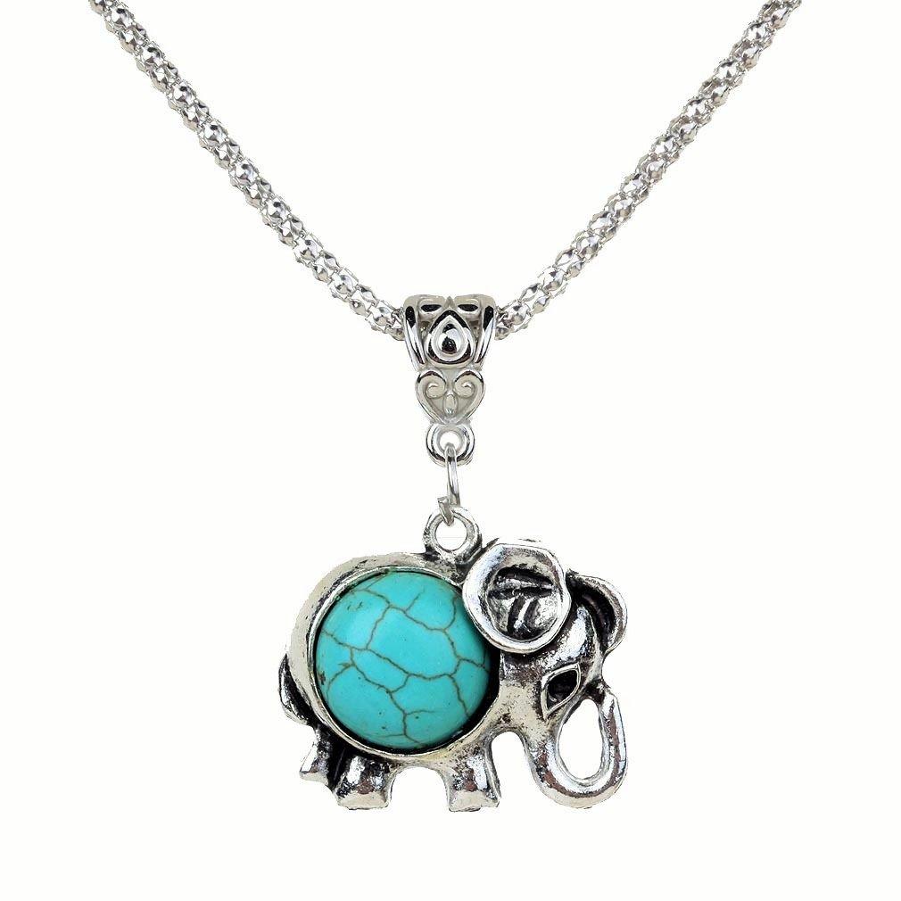 Bohemian Ethnic Tribal Tibetan Silver Rounded Turquoise Stone Elephant Pendant Chain Necklace