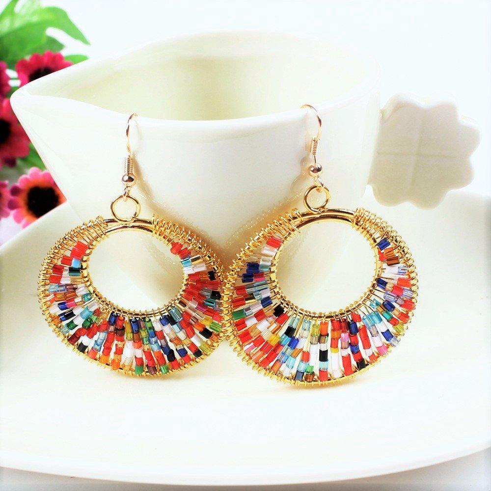 Bohemian Ethnic Tribal Colorful Hand-Woven Beaded Bohemian Circle Gold Dangle Earrings