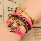 Bohemian Multilayer Antique Bronze Hand-Woven Anchor Infinity Cross Love Leather Wrap Charm Bracelet