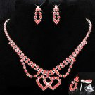 Classic Red Ruby Austrian Crystal Rhinestone Double Intertwined Heart Necklace Earring Jewelry Set