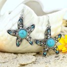Classic Vintage Ethnic Tribal Tibetan Stainless Steel Silver Turquoise Crystal Starfish Drop Earring