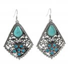 Ethnic Tribal Tibetan Stainless Steel Silver Turquoise Crystal Waterdrop Inlay Pendant Drop Earrings