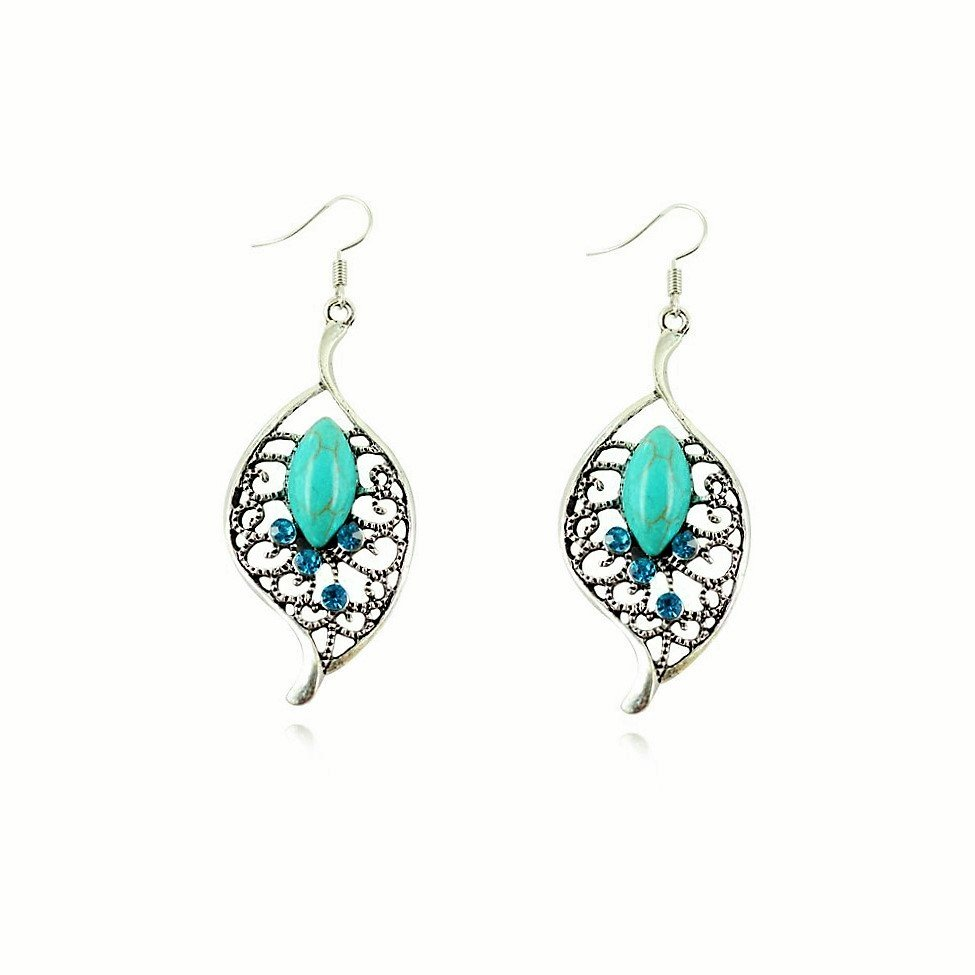 Boho Vintage Ethnic Tribal Tibetan Stainless Steel Silver Turquoise Crystal Leaf Inlay Drop Earrings