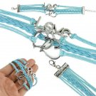 Bohemian Multi-Layer Handmade Sterling Heart To Heart Infinity Love Blue Leather Wrap Charm Bracelet