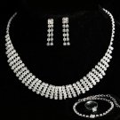 Elegant Bridal Swarovski Rhinestone Crystal Necklace Bracelet Earrings Ring Wedding Jewelry Set