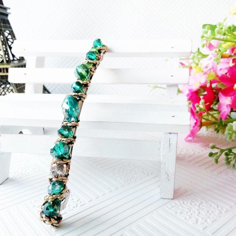 Beautiful Stylish Light Green Fashion Retro Crystal Rhinestone Barrette Hairpin Hair Clip