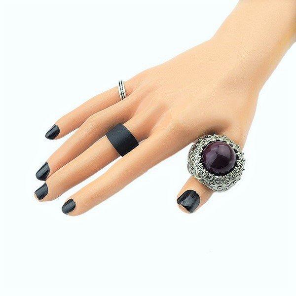 Handmade Royal Gemstone Bead Bali Filigree Design Sterling Silver Unisex Dome Cut Amethyst Ring