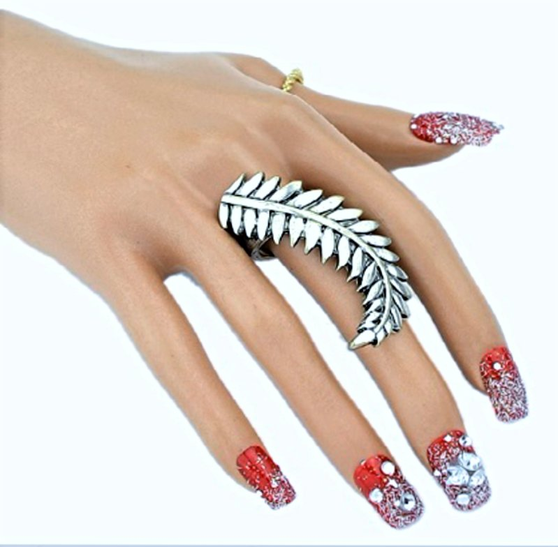 Bohemian Fashion Vintage Romantic Sterling Antique Silver Delicate Leaves Ring