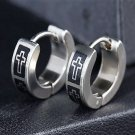 Punk Rock Hip-Hop Unisex Metal Stainless Steel Two Laser Printed Cross Huggie Hoop Stud Earrings