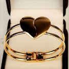 Elegant Vogue Polish Tone Gold Plated Cuff Bangle Heart Bracelet