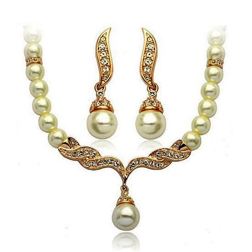 Elegant Ivory Pearl Gold Swarovski Rhinestone Crystal Diamante Bridal Wedding Jewelry Set
