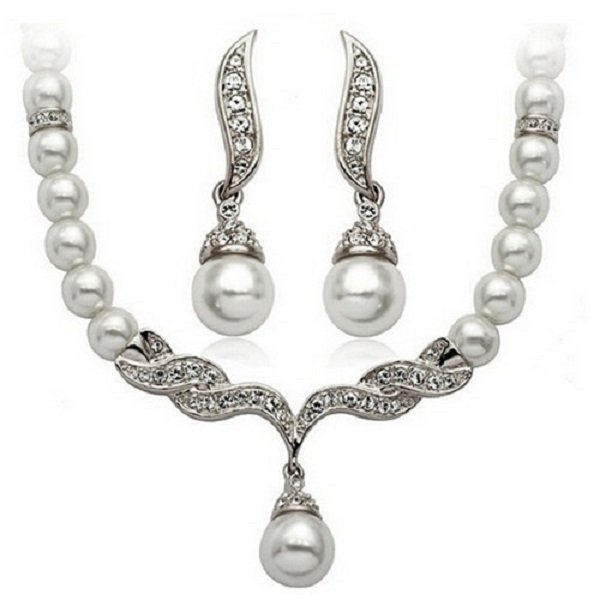 Elegant Ivory Pearl Silver Swarovski Rhinestone Crystal Diamante Bridal Wedding Jewelry Set
