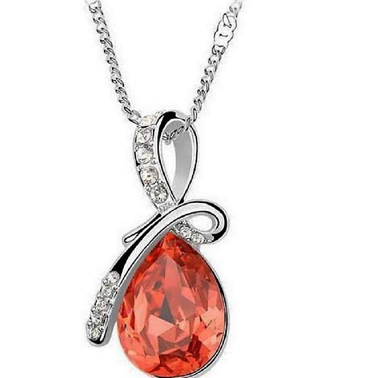Romantic Sterling Silver Red Swarovski Crystal Diamond Angel Tear Water Drop Pendant Necklace