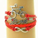 Bohemian Multi-Layer Handmade Red Infinity Antique Silver Bike Leather Wrap Love Friendship Bracelet