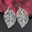 Charming Fashion Classic 925 Sterling Silver Plated Leaf Dangle Hook Earrings