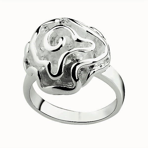 Gorgeous Classic 925 Sterling Silver Plated Thick Frozen Frosted Rose Flower Swirl Ring