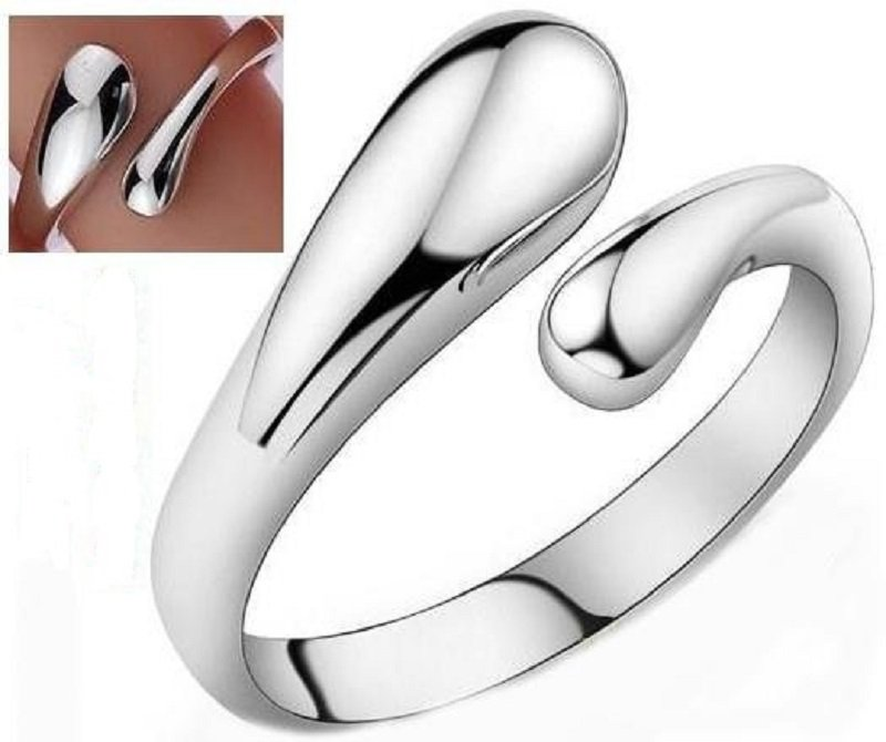 Classic Elegant 925 Sterling Silver Plated Teardrop Thumb Split Adjustable Ring Band