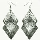 Fashion Chic Bohemian Gun Black Plated Frosted Rhombic Swing Dangle Earrings