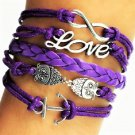 Boho Multi-Layer Handmade Owl Infinity Love Purple Leather Braided Wrap Bangle Bracelet
