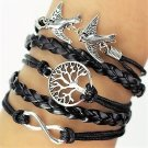 Boho Multi-Layer Handmade Infinity Birds Life Tree Black Leather Braided Wrap Bangle Bracelet