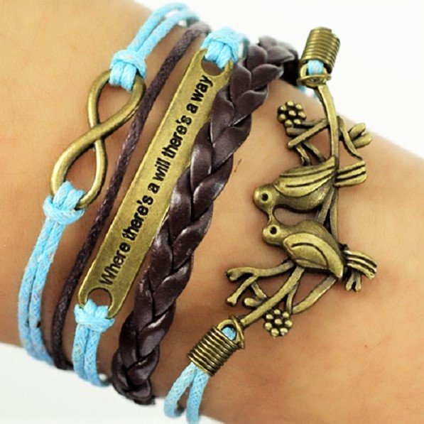 Boho Multi-Layer Handmade Infinity Birds Love birds Leather Wrap Bangle Bracelet