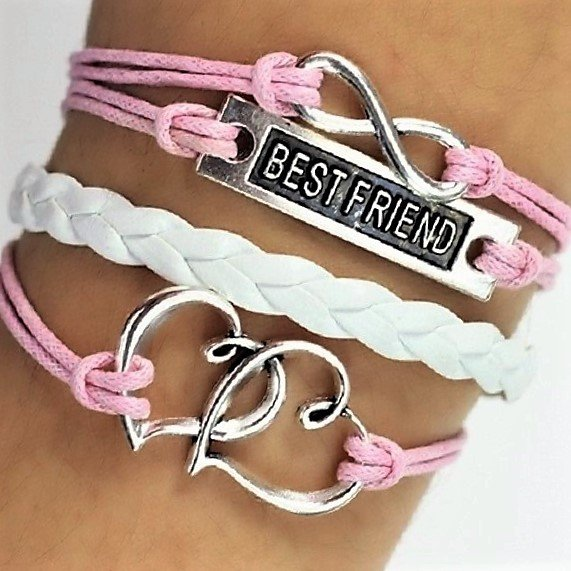 Boho Multi-Layer Handmade Infinity Pink and White Leather Wrap Bangle Heart Friendship Bracelet
