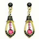 Elegant Red Crystal Rhinestone Cubic Zirconia Studded Indian Chandelier Teardrop Earrings