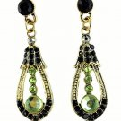 Elegant Green Crystal Rhinestone Cubic Zirconia Studded Indian Chandelier Teardrop Earrings