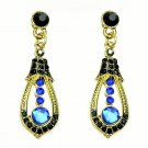 Elegant Blue Crystal Rhinestone Cubic Zirconia Studded Indian Chandelier Teardrop Earrings