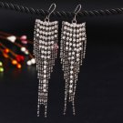 Stunning Romantic Charcoal Plated Crystal Rhinestone Long Chain Dangle Tassel Hook Linear Earrings