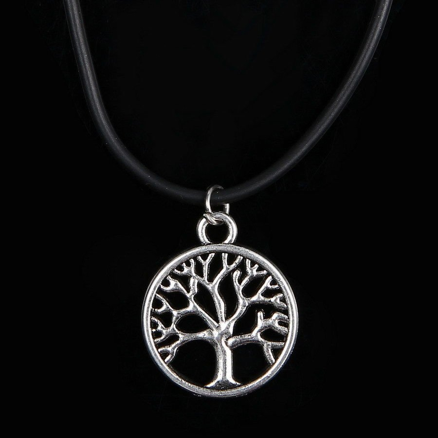 Fashion Vintage Tibetan Silver Plated Black Leather Cord Family Tree of Life Charm Pendant Necklace