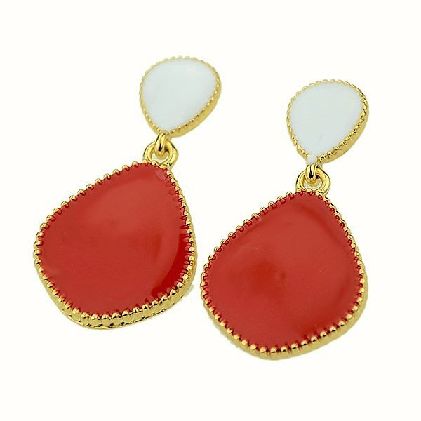 Elegant Boho Chic Vintage Bold Red Neon Candy Color Drop Stud Earrings