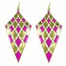 Elegant Chic Gold Plated Purple Bohemian Gypsy Quadrangle Chandelier Long Drop Dangle Earrings