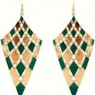 Elegant Chic Gold Plated Green Bohemian Gypsy Quadrangle Chandelier Long Drop Dangle Earrings