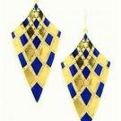 Elegant Chic Gold Plated Blue Bohemian Gypsy Quadrangle Chandelier Long Drop Dangle Earrings