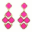 Chic Bohemian Gold Plated Chandelier Hot Pink Clover Flower Drop Dangle Earrings