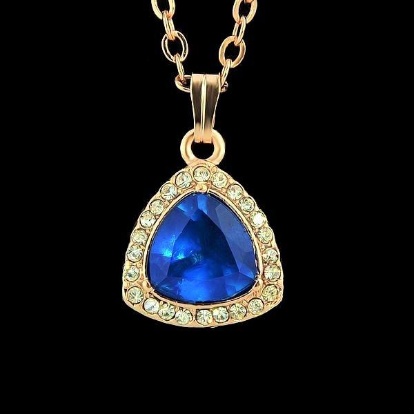 Elegant Clear Rhinestone Blue Gemstone Sapphire Gold Plated Teardrop Chain Pendant Necklace