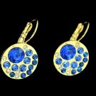 Elegant Yellow Gold Plated Zirconia Hoop Dangle Blue Round Rhinestone Stud Earrings