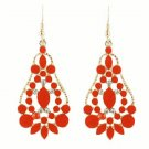 Elegant Bohemian Red Orange Chandelier Gemstone Teardrop Flower Dangle Earrings