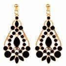 Elegant Bohemian Black Chandelier Gemstone Teardrop Flower Dangle Earrings