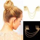Greek Goddess Boho Fashion Beauty Lady Gold Leaf Hair Comb Clip Cuff Tassel Chain Head Headpiece