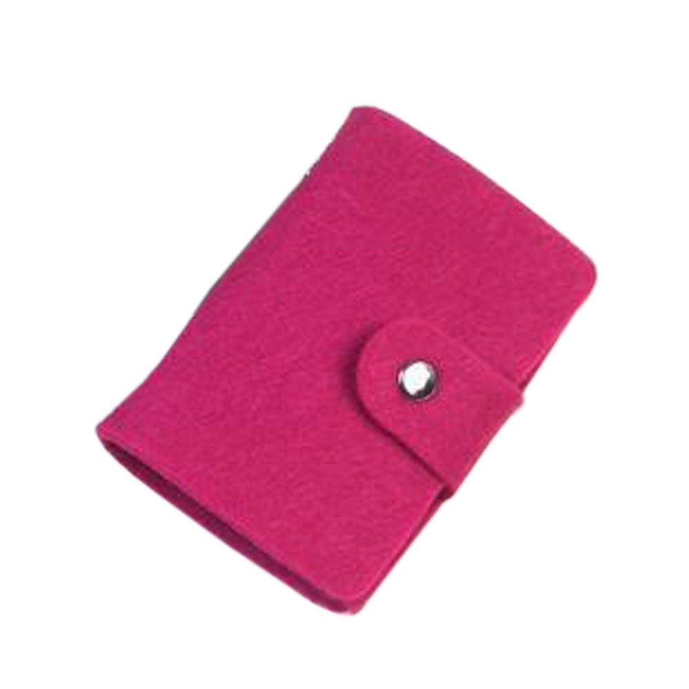 Fashion Retro Fuchsia Women Pouch ID Credit Card Wallet Cash Holder Organizer Case Box Pocket