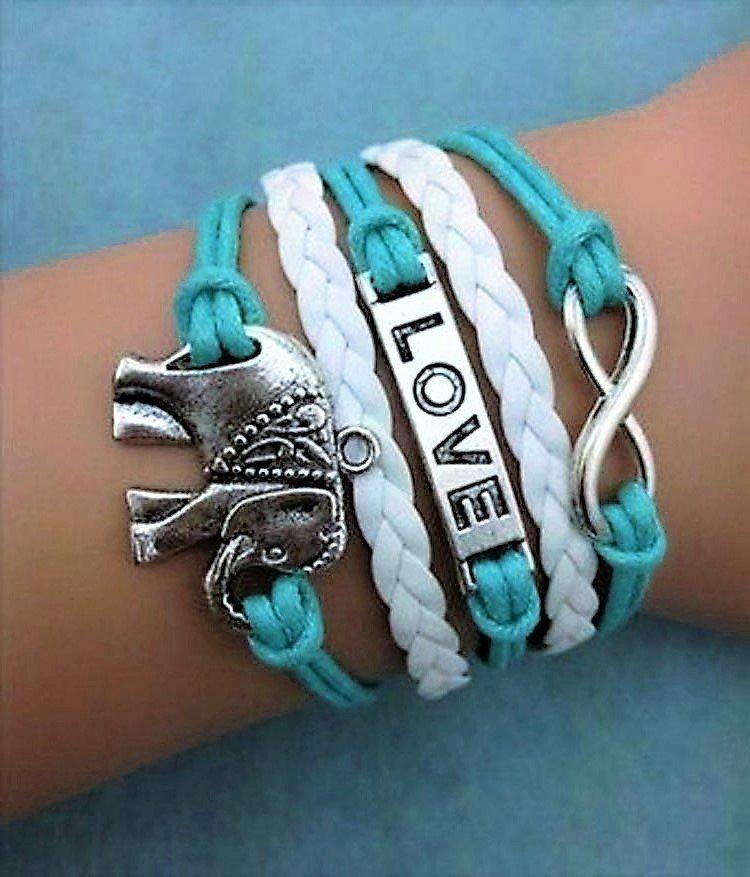 Fashion Retro Bohemian Romantic Love Elephant Multi-Layer Woven Pu Leather Bracelet