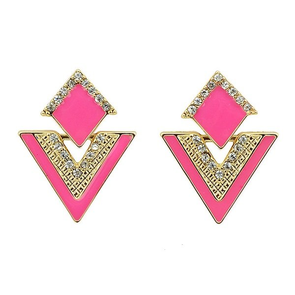Elegant Gold Plated Pink Double Triangles Crystal Drop Dangle Statement Earrings