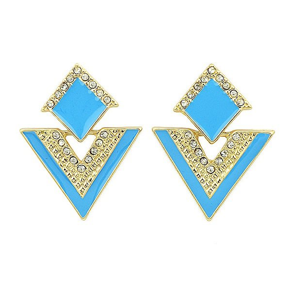 Elegant Gold Plated Blue Double Triangles Crystal Drop Dangle Statement Earrings