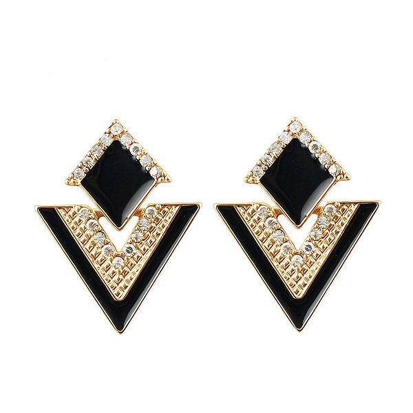 Elegant Gold Plated Black Double Triangles Crystal Drop Dangle Statement Earrings