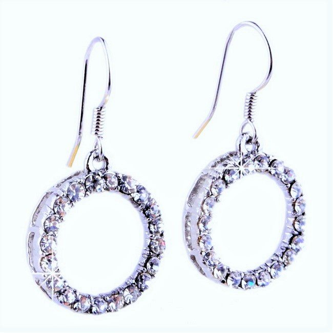 Stunning Elegant Silver Plated Open Circle Clear Crystal Rhinestone Drop Earrings