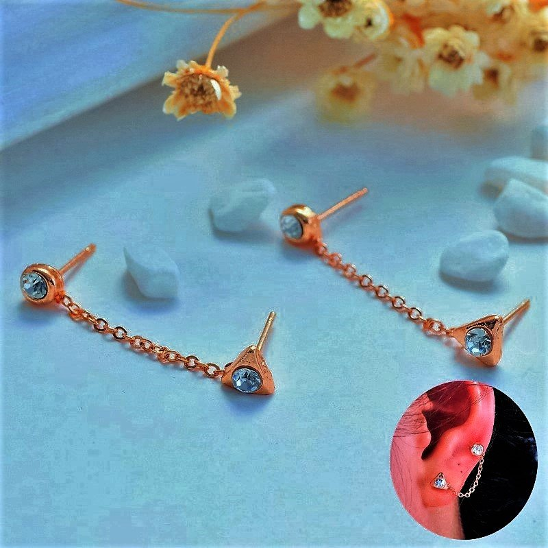 Punk Gold Plated Crystal Rhinestone Double Hole Triangle Chain Earrings